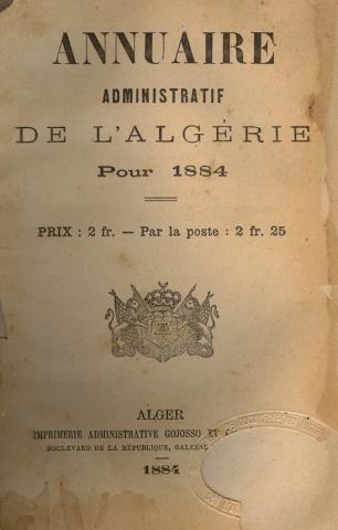 Annuaire Algérie 1884